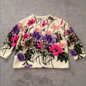 Vintage Wool Colorful Floral Sweater